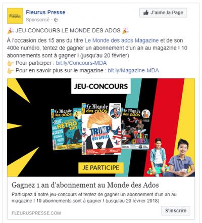 Fleurus Presse Facebook Ads