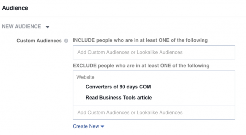 Facebook Ads Audience Exclusion