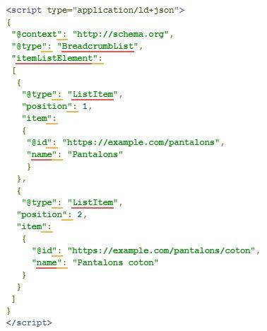 Balise JSON-LD Google